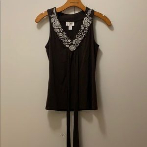 Loft embroidered brown sleeveless top.